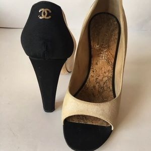 Chanel peep toe platform pumps